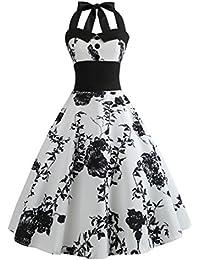9852b09e50263 Internet Sexy Femme Robe Vintage Floral Bodycon sans Manches Casual Robe de  Soirée Prom Swing Robe 1950  s Style Audrey Hepburn…
