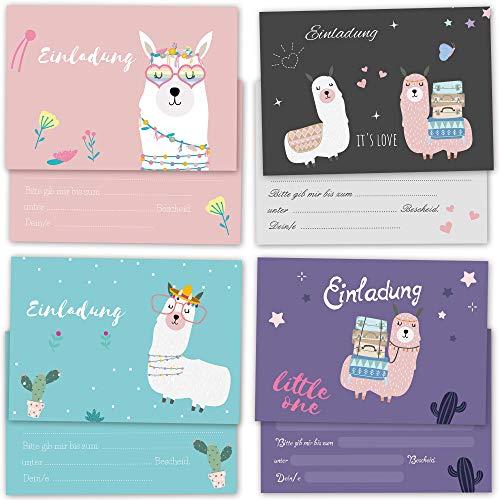 8 Einladungskarten mit Lama Motiven im Set zum selber beschriften mit Umschlägen, Geburtstagskarten mit lustigen Tieren für Kinder mit beschreibbaren Feldern, 4x2 individuelle flache Karten im Set