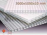 Lastra Policarbonato Alveolare Makrolon 300x105 cm SPESSORE 10 mm 4 pareti Trasparente