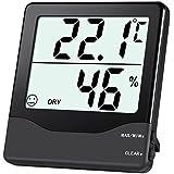 Oria interior higrómetro termómetro, Monitor de temperatura medidor de humedad con min/max registros, Gran Pantalla LCD, y # x2103;/y # x2109; Interruptor para casa, oficina, etc., color negro
