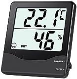 ORIA Digital Hygrometer Thermometer Innen Thermo-Hygrometer Monitor - Schwarz, S
