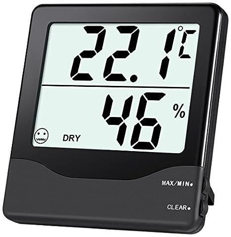 ORIA Thermomètre Intérieur à Hygromètre Numérique, Moniteur de Température, Humidité Mètre avec Min/Max Records, Grand Écran LCD & # X2103& # X2109, Commutateur pour Bureau, Maison etc - Noir
