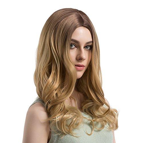 (Luckhome perücke stilvoll gelockt lang Haar Wigs für Karneval Cosplay Halloween Lange lose wellenförmige nr. lace Front lockiges volles natürliches perücken Frauen Faser perrücke Wig Haare(Gold))