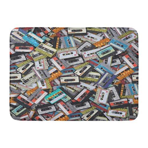 Bad Teppiche Outdoor/Indoor Fußmatte Blue Tape Muster große Reihe von Audio-Kassetten 3D Render grau Alten 1990er Jahren Badezimmer Dekor Teppich Badematte ()