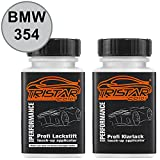 TRISTARcolor Autolack Lackstift Set BMW 354 Titansilber Metallic/Titanium Silver Metallic Basislack Klarlack je 50ml