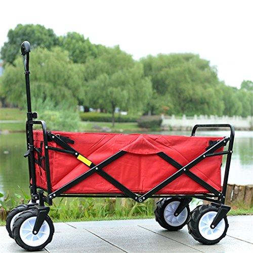 DELLT- Carretilla portátil plegable mano empuje pequeño carro/hogar cuatro rondas Supermercado pesca deportiva playa barra vara carro/carrito de compras remolque camión/70 kg carga (Color : Rojo)