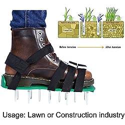 Ksruee L'aérateur de pelouse antidérapant Chausse Les Chaussures Pointues durables de Jardin de scarificateur