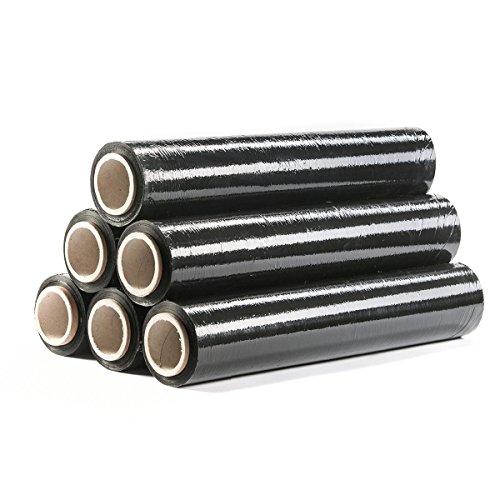 HaGa® Stretchfolie Verpackung Umzugsfolie 150mx500mmx23µm schwarz 6 Rollen