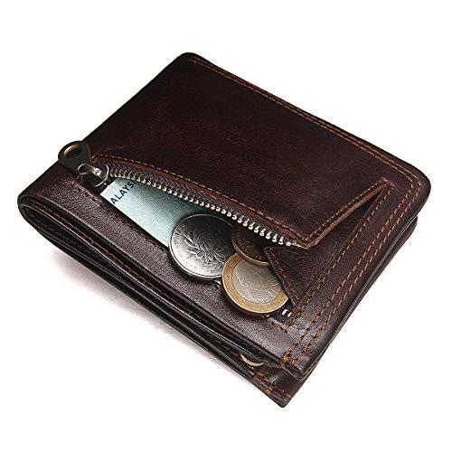 Contacts Herren echtes Leder Kartenhalter Zipper Münzen Tasche Bifold Brieftasche Dunkler Kaffee Dark Coffee 1