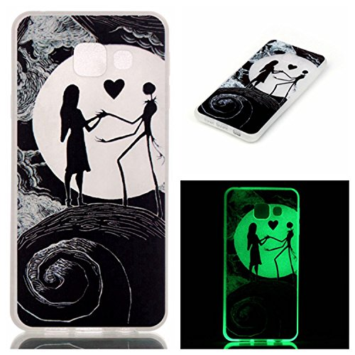 Coffeetreehouse Slim Etui Noctilucent Coque TPU pour iPhone 6 Plus /6S Plus Coque,Etui Silicone Transparente Gel TPU Bumper Anti Poussiere Resistance Anti-rayures Case Cover Couverture Pour iPhone 6 P Lune Couple