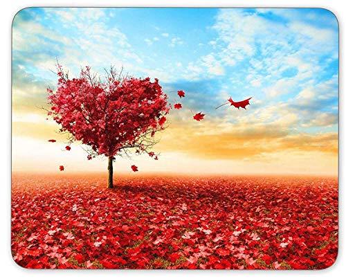 Kunst-LIEBESFELD-Herz-Form-Baum unter Blauer Himmel-Mausunterlage Rutschfeste Gummimausunterlage für ZU gameshome Schulbüro-Mausunterlage,Gummimatte 11,8