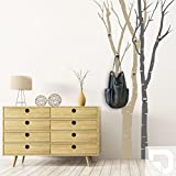 DESIGNSCAPE® Garderobe Birkenstämme | Bäume als Garderobe mit Haken 102 x 200 cm (Breite x Höhe) Farbe 1: weiss inkl. 6 Edelstahl Wandhaken DW811050-M-F5