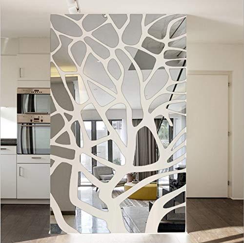 HAIMACX Espejo De Plástico Nueva Sala De Bodas Decoración De La Sala Sala De Estar TV Fondo Pared Espejo Mosaico Geométrico Espejo Decorativo Etiqueta De La Pared, Plata