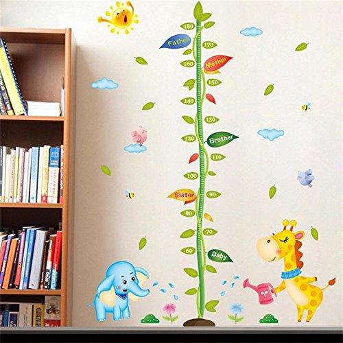 Weaeo Neue Baumschule Höhe Wachstum Chart Wall Sticker Kinder Jungen Mädchen Grün Baum Carroon Elefant Giraffe Zoo Dekorative Selbstklebende Poster (Wachstum Wandtattoo Giraffe Chart)