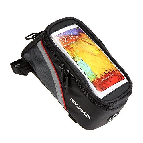 Bicicletta Sacchetto Supporto smartphone ROSWHEEL bici della bicicletta del  borsa del tubo Telaio frontale in PVC trasparente con linea di estensione audio per 5.5 'cellulare