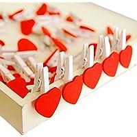TININNA Carino rosso Forma di Cuore Mollette Piccola Clip di legno per fai da te decorazioni casa 50 pz