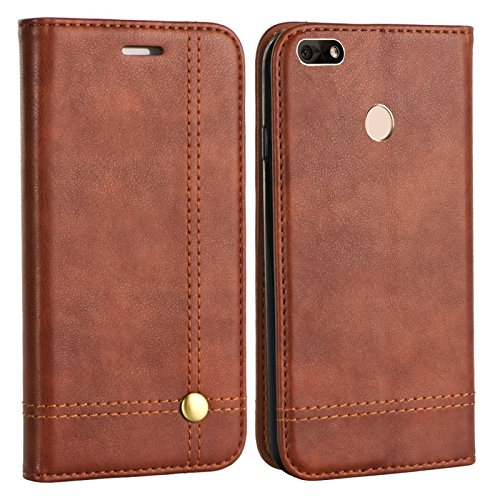 MOELECTRONIX Edle Buch Klapp Tasche BRAUN Flip Book Case Schutz Hülle Etui für Huawei P9 Lite Mini Dual SIM SLA-L22
