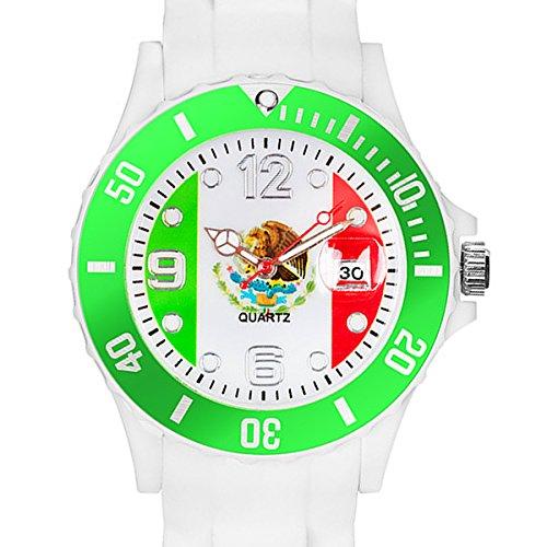 el Silikon Armbanduhr Gummi Trend Watch Quarz Fan Uhr mit Fussball Weltmeisterschaft WM & EM Europameisterschaft 2016 Länder Flaggen Style - Mexiko (Erwachsene Sombrero)