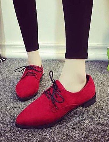 ZQ hug Scarpe Donna-Sneakers alla moda-Tempo libero / Casual-Comoda / A punta-Piatto-Finta pelle-Nero / Rosso / Grigio , gray-us6 / eu36 / uk4 / cn36 , gray-us6 / eu36 / uk4 / cn36 gray-us6.5-7 / eu37 / uk4.5-5 / cn37
