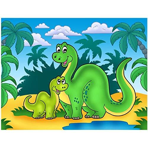 Mengdan Volle Quadratmeter Bohrer 5D DIY Diamant Malerei Cartoon Dragon 3D Stickerei Kreuzstich Mosaik Strass Wohnkultur Dinosaurier, 50X65cm -