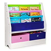 Fineway... Childrens Colourful 2 Drawer Toy Container Storage Boxes with 3 Tier Sling Book Storage Organiser Book Rack Shelf Shelves Unit