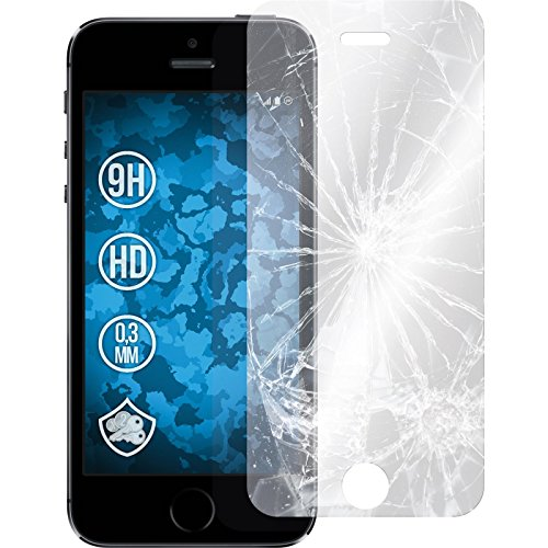 1 x Glas-Folie klar für Apple iPhone 5 / 5s / SE PhoneNatic Panzerglas für iPhone 5 / 5s / SE