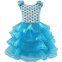 Sunny Fashion Vestito Bambina Ruffles Tulle Tiered Paillette Partito Compleanno Principessa 4-12 anni