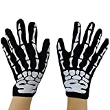 Tinksky Unisex Fit Halloween Horror Skull Claw Bone Skeleton Goth Racing Biker Full Gloves Costumes d'Halloween (Noir)