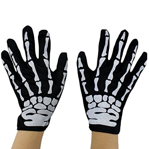 Tinksky Halloween Horror Full Finger Handschuhe Schädel Claw Bone Skeleton Goth Racing Biker Outdoor Sport Handschuhe Unisex Fit (Schwarz)