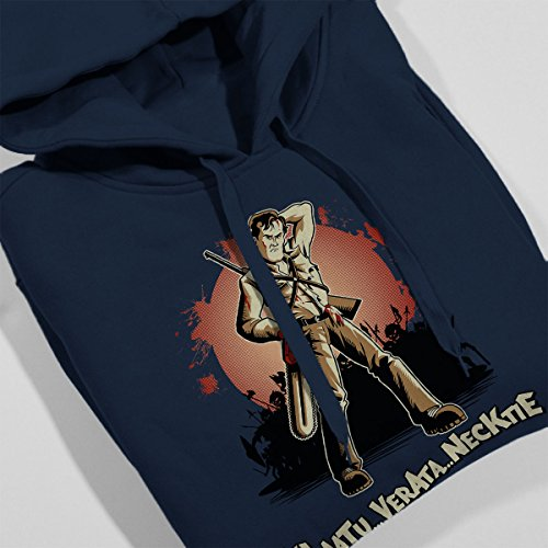 Evil Dead Klaatu Barada Nikto Women's Hooded Sweatshirt Navy Blue