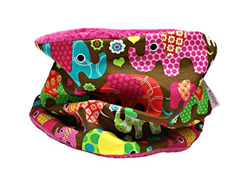 Unbekannt Kinder Loop Schlauchschal Kinderschal Elefantenparade pink (1-8 Jahre) - Fleecefarbe Petrol