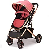 Carretilla de cama plana Summer Bidirectional Trolley Highland Cart Carretilla ligera de lujo High View Antichoque Child Carriage Chairs (Color : Rojo)