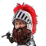 Da.Wa Lustige Hüte Römische Ritterhelm Mütze Winter Handgefertigte Gestrickte Mütze Kein Krempe fur Unisex, Grau