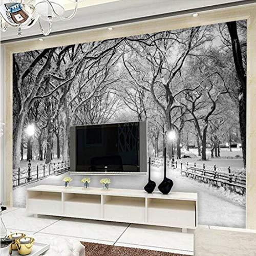 Preisvergleich Produktbild White Snowy Road Trees Winter Scenery Photo Mural For Living Room TV Sofa Backdrop Wall Decor Custom Size 3D Tapete200*140 Cm