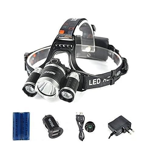 Lampe Frontale LED, Mifine 6000LM XM-L T6 Phares à LED - 2 X 18650 Batterie Rechargeable - 4 Modes Orientable - Imperméable à l'eau - pour Randonnées, Camping, Chasse