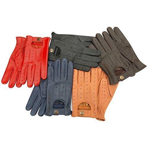 Leder Fahrer Handschuhe (Herren Premium Motorrad Mode unliniert weiches Leder Winter Prime Fahrer-Handschuhe 7012 - Rot, L)