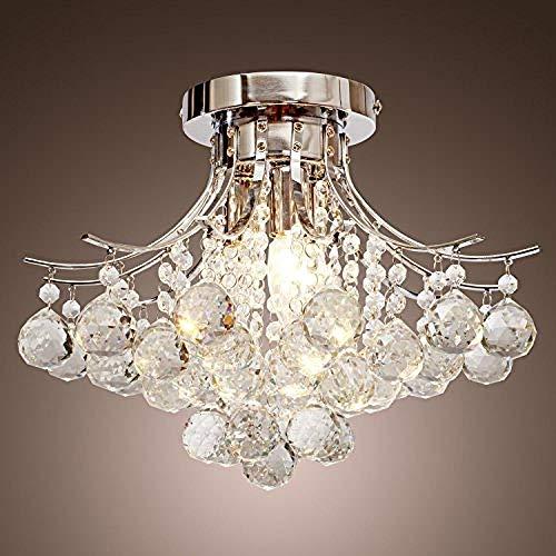Loft Chandelier Verchromter Kristall-Loft Chandelier mit 3 Leuchten im Mini-Stil, Deckeneinbauleuchte für Arbeitszimmer/Büro Esszimmer Schlafzimmer Wohnzimmer -