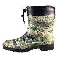 Men Wellingtons Boots Winter Snow Waterproof Rain Shoes Warm Camouflage Non-Slip Rain Boots,Thick Detachable Cotton Lining