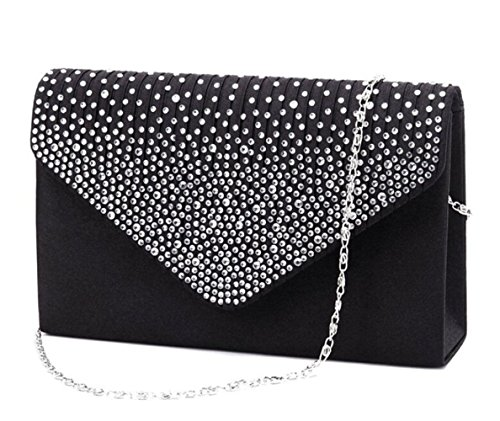 Clorislove Ladies Rhinestone Frosted Envelope Clutch Evening Bridal Handbag Purse (Black)