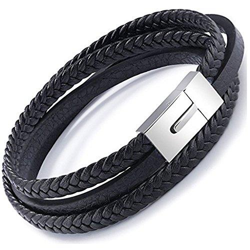 icatcher® Jewelry Edelstahl 316L Ohrklemme Cuff Herren Gothic Leder Seil geflochten schwarz 21,5cm nickelfrei Armreif mit Geschenk-Box (Gothic Leder)