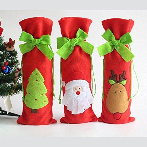 Homecube 3 Bottiglie Pz Babbo Natale Vino Borse Riguarda il Vino Rosso con Praticamente Borse Tie Regalo di Natale Set - Santa, Renne e Festa di Natale Tree Hotel Kitchen Table Decor