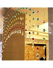 Pindia Acrylic Crystal Strings Bead Curtain with Glass Drop - Multicolor