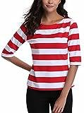 Miss Moly Damen Kurze Ärmel Pullover Sommershirt Strand Urlaub Party Süß Rot/Weiß - XL