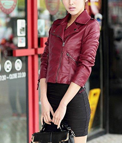 Giacca Donna Inverno Giacche In Pelle PU Vintage Moto Giubbino Giubbotto Corto Manica Lunga con Zip Vino rosso