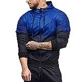 MRULIC Herren Herbst Winter Hoodie Langarm Spleißen Falten Kapuzen Sweater Tops Streetwear Trainingsanzüge RH-038(Blau,EU-46/CN-L)