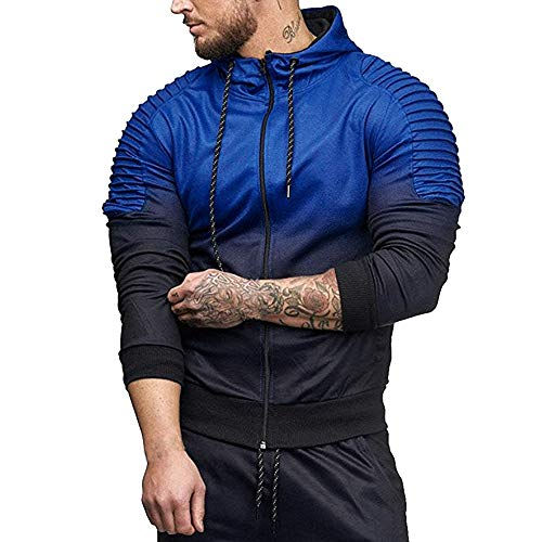 MRULIC Herren Herbst Winter Hoodie Langarm Spleißen Falten Kapuzen Sweater Tops Streetwear Trainingsanzüge RH-038(Blau,EU-52/CN-3XL) -