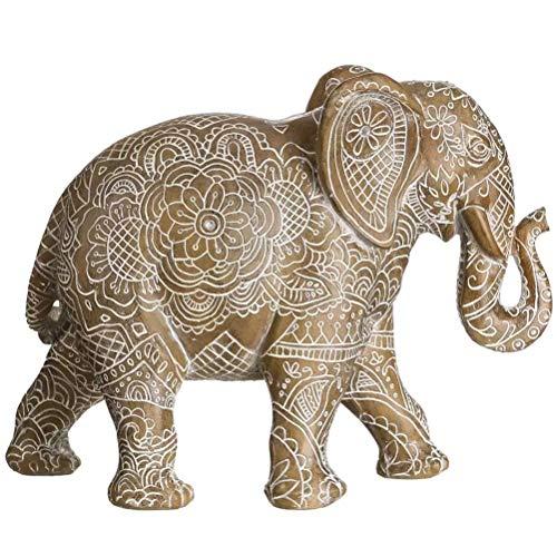 Figura de Elefante Blanca de Resina étnica para salón Sol Naciente - LOLAhome