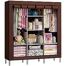 Anva Closet Portable Wardrobe Durable Clothes Storage Organizer Non-Woven Fabric Cloth Storage Shelf with Hanging Rod
