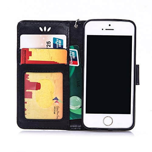 JIALUN-Telefon Fall Mit Kartensteckplatz, Lanyard, Druck Schönes Muster Mode Open Handy Shell Für IPhone 5S 5 SE ( Color : Purple , Size : IPhone 5S SE ) Black
