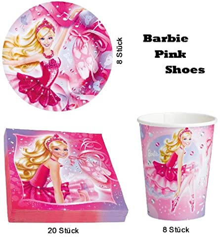 Barbie Pink Shoes 36 tlg. Set Servietten Becher Teller Kindergeburtstag Party